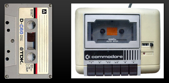 Compact cassette and Commodore Datasette.