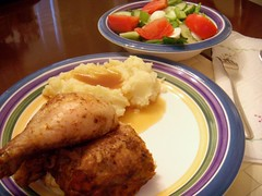 Roast chicken, mashed potatoes, salad