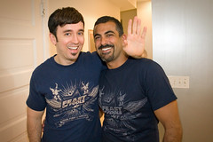 Fausto Fernós and Nirmalpal Sachdev model the Feast of Fools t-shirts