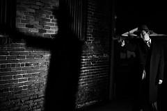 NOIR XI (giladvalkor) Tags: noir suit hat blackandwhite bw monochrome alley 1940s 1950s darkphotography shadows night creepy scary man people portrait gun revolver silhouette contrast