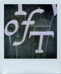 of T (Graustark) Tags: film water sign polaroid sx70 texas cloudy houston montrose oft universityofstthomas 779 sx70orig