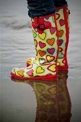 happy boots (VROG in Bristol) Tags: uk england smile hearts happy boots unitedkingdom wellingtonboots wellies wellingtons lynmouth northdevon lynton leeabbey cotcmostinteresting cotcmostfavorited vrog wixizinterestingnesscontest justbecauseitsgettingcolderandwetteranddarker doesntmeanwecantbehappy