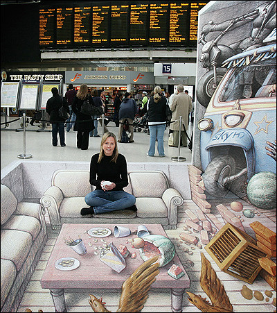 空港の目の錯覚アート