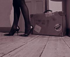 She's leaving home, bye bye (Rich007) Tags: wood old uk greatbritain blackandwhite bw woman texture girl monochrome sepia blackwhite lyrics shoes europe floor legs unitedkingdom britain song antique photoshopped board n case gb 1967 trunk heels beatles heel bandw nic suitcase johnlennon peterborough songs floorboards 2007 paulmccartney flickrrocks floorboard lennonmccartney abigfave impressedbeauty fletton shesleavinghome oldfletton music365