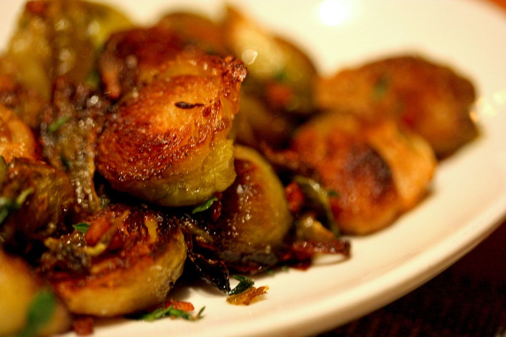 Close up of Roasted Brussels Sprouts...