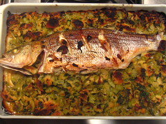 Baked Bass with Thanksgiving Stuffing