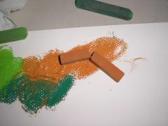 chalk pastels broken