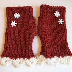 Red & White - Lace & Snowflakes Fingerless Gloves