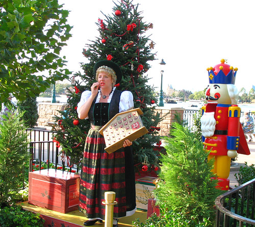 """Helga"" at the Germany Pavillion in Epcot describes Christmas traditions in Germany and how many of ours originated there."