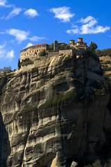 Meteora (vasi v) Tags: blue sky building stone clouds climb high rocks monastery priest walls fortress meteora caste