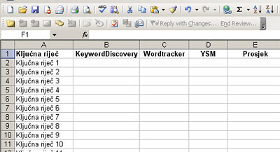 Excel keywordi