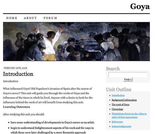 Image of th Goya Course in a WordPress Blog