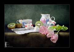 ... (AlexEdg) Tags: pink flowers stilllife cup fruit 50mm tulips lace knife stilleben spoon nikond70s kiwi 2008 raffaello naturemorte milkjug blueribbonwinner alexedg alledges diamondclassphotographer