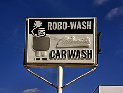 ROBO-WASH (FotoEdge) Tags: old usa sign clouds rusty dry bluesky spray carwash missouri crusty soapy rinse excelsiorsprings 2min robowash fotoedge