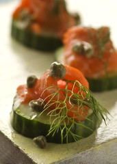 SmokedSalmonCapersCanape (fhansenphoto) Tags: food cucumber salmon capers smoked anise canape appetisers