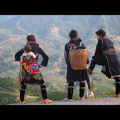Soon we will plant the Rice (NaPix -- (Time out)) Tags: portrait woman baby black mountains green composition landscape hope amazing women asia southeastasia basket view rice dusk vietnam explore overlook fp motherandchild journalism sapa hmong paddies endofday indigoblue explored explorefrontpage flickrsbest napix mounghoavalley soonwewillplanttherice