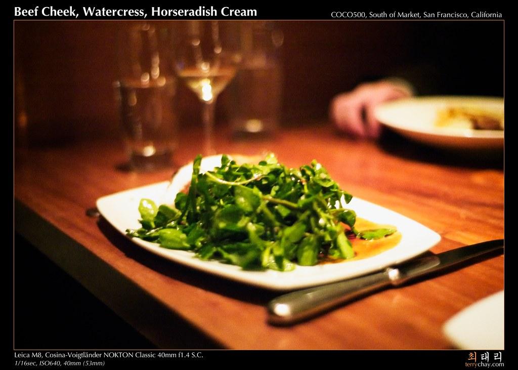 beef cheek, watercress, horseradish cream