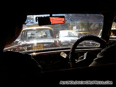 "Inside an Indian Padmini cab, known as ""black and yellow"" by the locals"