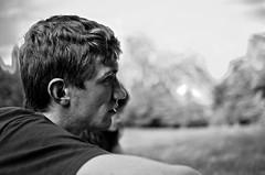 [ Portrait - Paul ] (Jérémie Le Guen) Tags: light portrait people blackandwhite bw white man black blur france face 35mm dark french blurry nikon noir darkness noiretblanc bokeh lumière nb sombre blond nikkor blanc clair afs profil homme dx obscur blondhair aquitaine leguen fargues d7000 f18g leziwok jérémieleguen