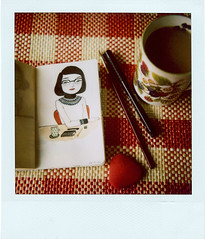 afternoon (*Juliabe) Tags: film moleskine cup illustration ink vintage watercolor polaroid sx70 afternoon berries tea drawing eraser small brush instant tablecloth ilustracin pleasures myeverydaylife volant 600film