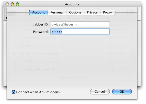 Adium X Jabber account settings