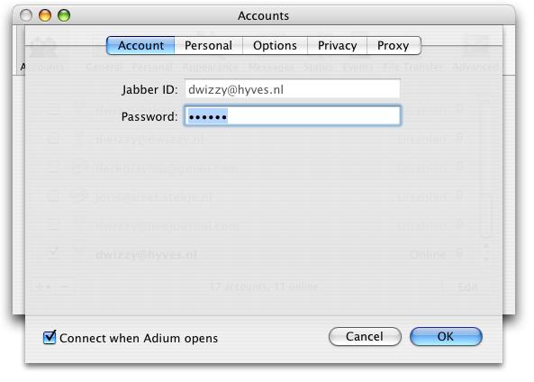 Adium X Jabber account settings
