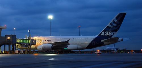 A380 at first light