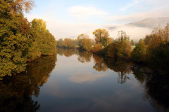 Autumn Tranquility (Time Grabber) Tags: blue autumn sky mist mountain reflection fall water wales clouds river tranquil wfc crickhowell outstandingshots mywinners platinumphoto timegrabber platinumphotograph proudshopper
