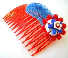 Red, White and Blue Vintage Flowers Hair Comb / Barrette