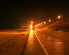 Day 333 / 365 - Molten (vvt) Tags: orange selfportrait beach me streetlamp norfolk perspective railing seafront sodium gorleston vvt selftimer 365days