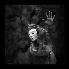 face yourself (CALISTO PHOTO ART) Tags: bw face hand mask surreal digiart dust yourself 2b onblack bwdreams poetryandpicturesinternational hourofthediamondlight anarchisticsouls flickrtate