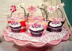 Our Valentine's Day Cupcake candy cups (holiday_jenny) Tags: pink flowers red party holiday art magazine cupcakes candy sweet handmade chocolate valentine february 2008 valentinesday favors bemine glassglitter nutcups romantichomes
