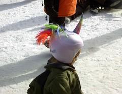 Rainbow Unicorn Helmet (See El Photo) Tags: people snow cold color colour colors girl female children person kid rainbow colorful colore child little helmet stranger lass unicorn farbe slippery couleur bigbear snowsummit