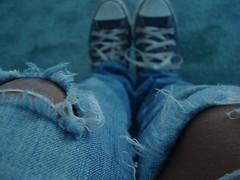 (AmoraTravels) Tags: blue feet shoes pants alicia holes 2008 chucks morales