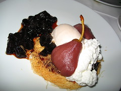 Kadaif with pears in wine, vanilla Ice cream and prune jam (blind_donkey) Tags: winter sea beach table telaviv chairs jaffa israeli restautant