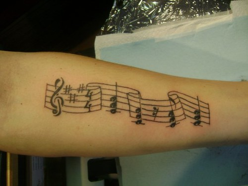 tattoos of music notes. music notes. by ken power.