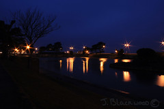 Ryde Boating Lake at Night (.James.) Tags: lake reflection tree night lights james march pond hampshire vectis isleofwight boating lamps 2008 ryde relections blackwood eastwight jamesiw