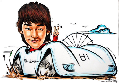 Caricature of Rain Speed Racer Singapore Flyer