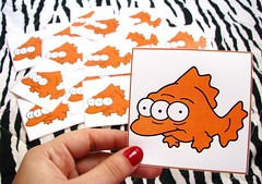 Blinky! (Adriana Verolla) Tags: ocean new sea orange fish pasteup television eyes sticker flickr gallery photos character laranja stickers cartoon radiation olhos simpsons peixe fotos laser animated powerplant fisk goinia blinky highly pasteups sitcom mutated adesivos mattgroening adesivo radiao zebrinha threeeyed flickrnewpictures environmentaleffects