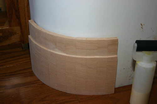 how to create baseboard for rounded drywall