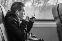 Train #1162 (John St John Photography) Tags: streetphotography candidphotography train 1162 njtransit newark nj njt passenger woman eyebrow pencil mirror makeup blackandwhite bw blackwhite