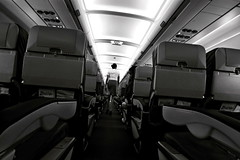 EMPTY SEATS (YAHSHEIK) Tags: monochrome airplane fly blackwhite flight crew seats airline stewardes singlecolor zestair