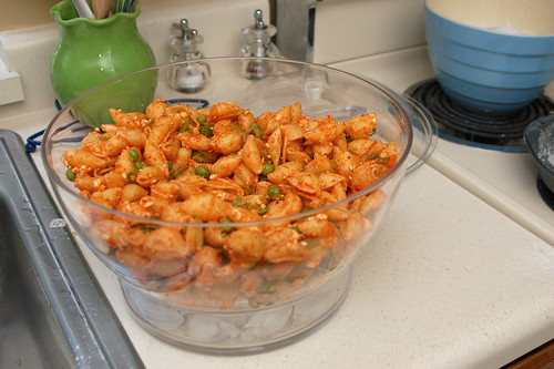 summer pea and roasted red pepper pasta salad   Breakroom Test Kitchen