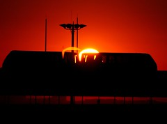 DFW SkyLink at sunrise (Shoeless Joe/64) Tags: red black yellow train sunrise dfw skylink dfwinternationalairport flickrphotoaward photofaceoffwinner pfogold