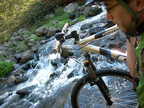 Mountain bike fording the San Lorenzo River