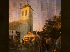 Open the steeple and there's all the people (mckenzieo) Tags: people steeple provia pensacola actions adamsstreet sevillesquare flickrenvy mckenzieoerting purplehairedchick mckenzieo ggaf oldchristchurch 10x10tents crowdonstreet greatergulfcoastartfestival2007