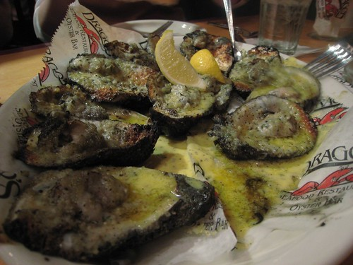 The famed charred oysters