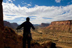 Coiling the rope (Patrick Cadieux) Tags: sky rock clouds creek utah sandstone desert indian profile climbing valley mesa