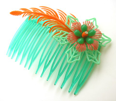 Green and Orange Vintage Flowers Hair Comb / Barrette
