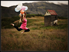 Fill your life with joy (LalliSig) Tags: pink sunset red summer portrait people woman cloud brown house mountain motion black green abandoned girl grass sport rural iceland jump farm hill portraiture vignetting baloons
